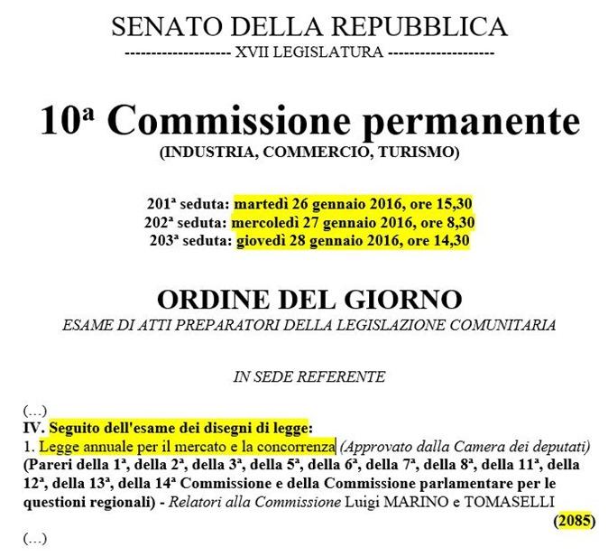 convocazioni decima commissione